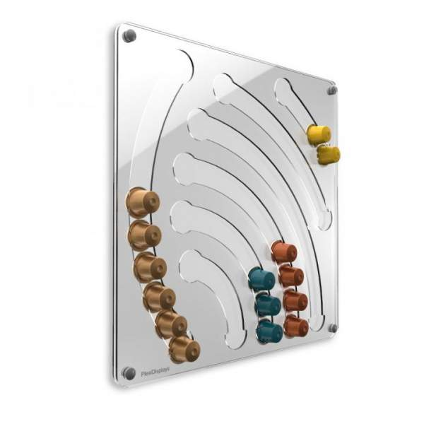 Plexidisplays Wasserfall Wand-Kapselhalter für Nespresso-Kapseln